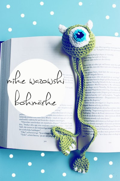 Crochet Monsters Inc bookmark with pattern