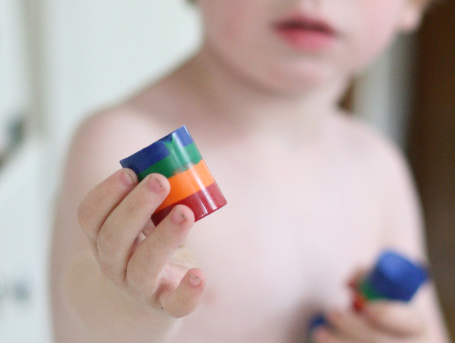 DIY Make Your Own Rainbow Crayons