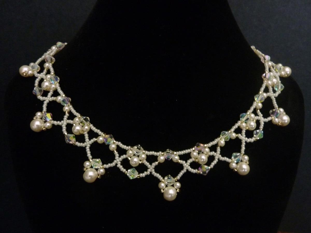 FREE beading pattern for necklace Netted Pearls
