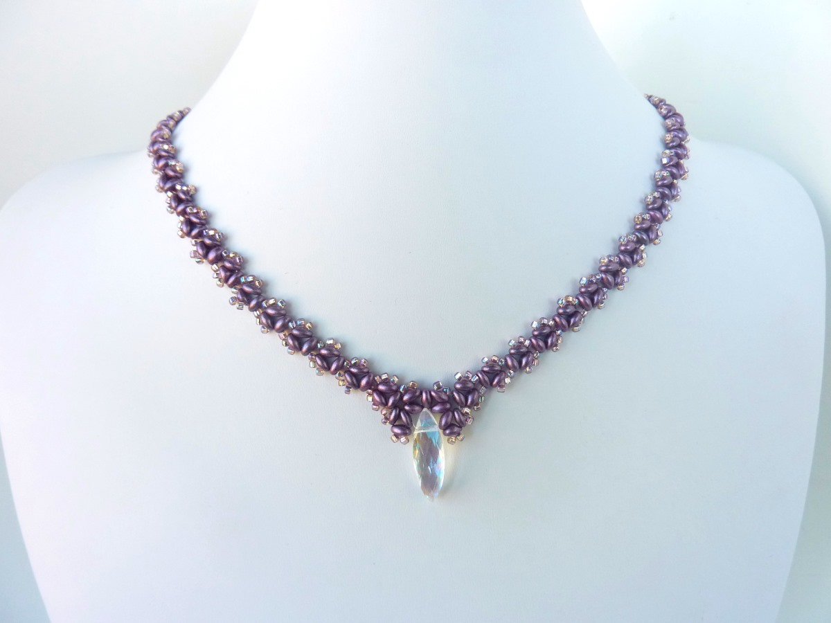 FREE beading pattern for necklace Twin Drop