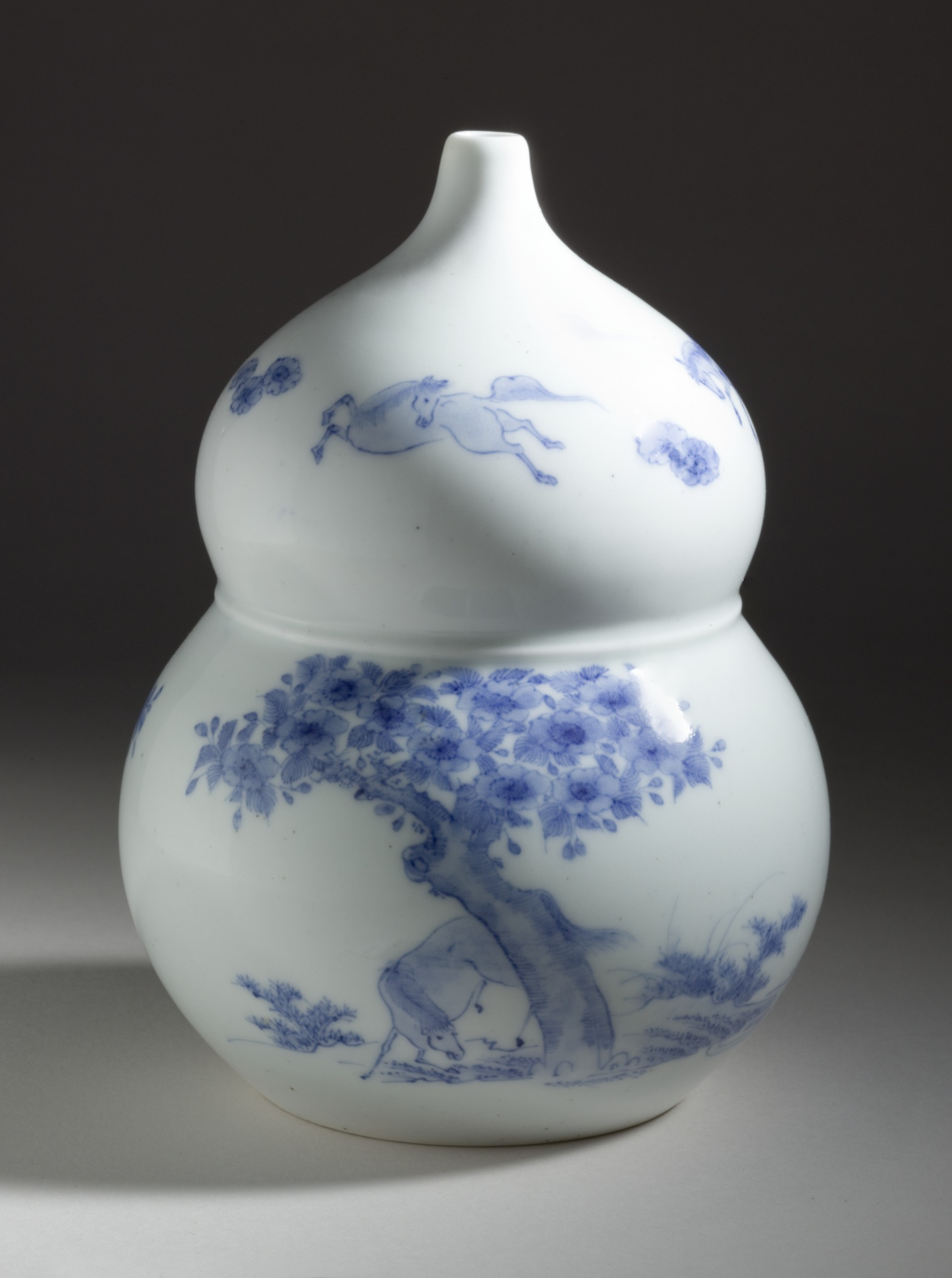 Double-Gourd Shaped Sake Flask with Horses and Flowering Tree Design LACMA M.2005.79.17