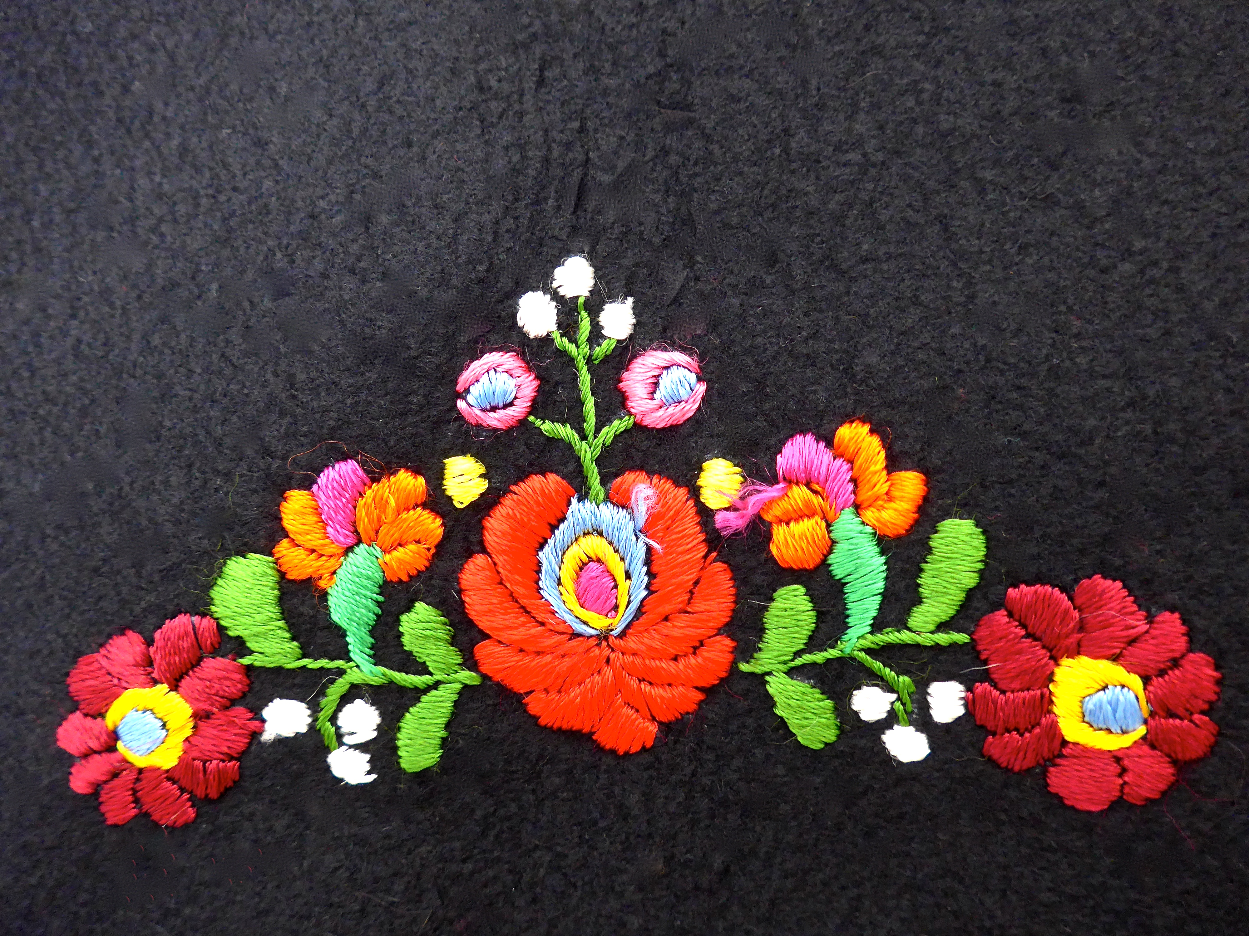 Embroidery in the back of a hungarian vest