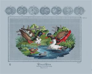 Kuehn, Heinrich (publ.) Ducks and ducklings in a pond