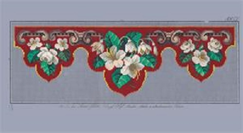 Louis Gluehr Red pelmet with white flowers