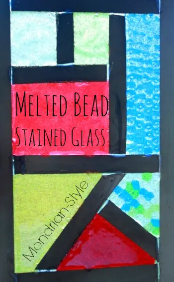 Melted Bead Stained Glass in Frames — Mondrian Style!