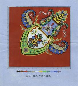Modes Vraies (publ.) Large boteh on red background