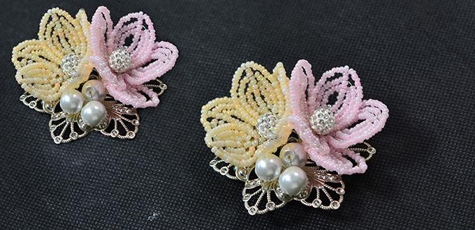 Pandahall Tutorial How to Make a Pink and Yellow Seed Bead Flower Brooch
