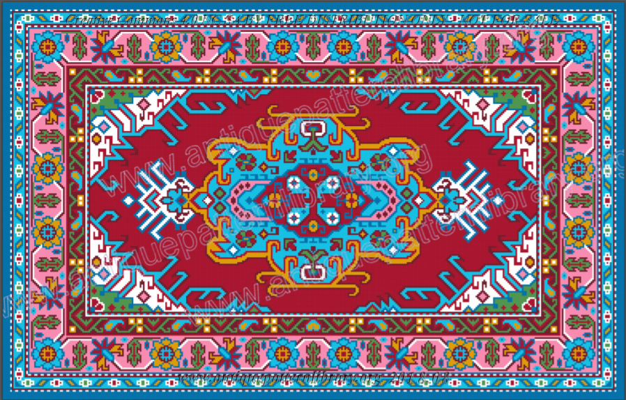 Tapestry design in red, turquoise, pink.