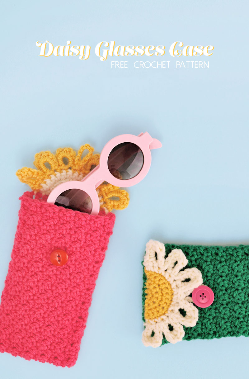 THE HAPPY DAISY CROCHET GLASSES POUCH – FREE PATTERN